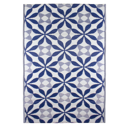 4' x 6' Blue and White Floral Rectangular Outdoor Area Rug - IMAGE 1