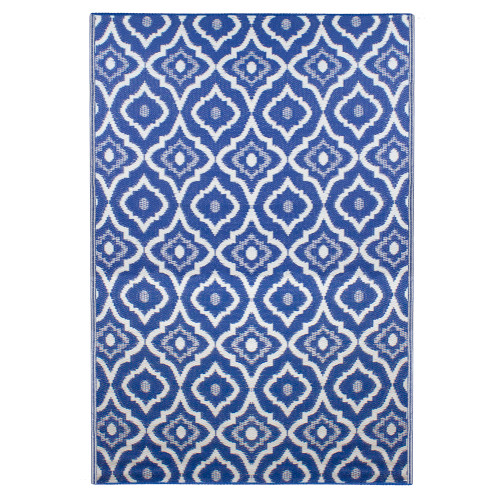 4' x 6' Blue and White Geometric Rectangular Outdoor Area Rug - IMAGE 1