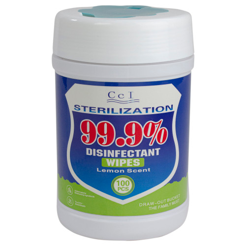 100 Count Lemon Scented 99.9% Disinfectant Wipes (Pack of 8) - IMAGE 1