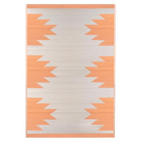 4' x 6' Orange and Beige Aztec Print Rectangular Outdoor Area Rug - IMAGE 1