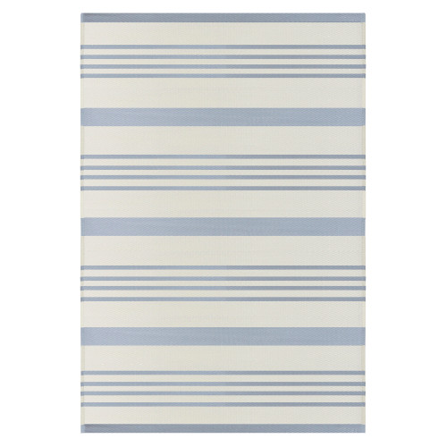 4' x 6' Light Blue and White Striped Rectangular Outdoor Area Rug - IMAGE 1
