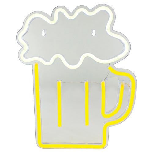 "13"" Yellow and White LED Neon Style Beer Mug Wall Sign - IMAGE 1"