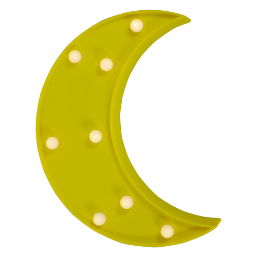 """9.5"""" LED Lighted Yellow Crescent Moon Marquee Wall Sign - IMAGE 1"""