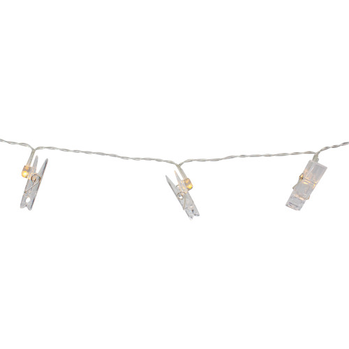 15-Count Clothes Pin Photo Holding LED Patio String Lights - Warm White - IMAGE 1