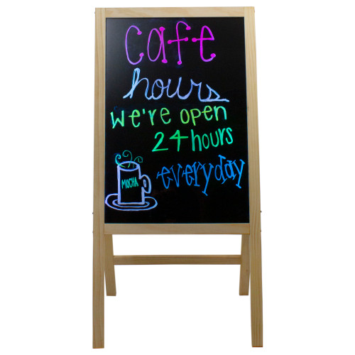 """40.5"""" LED Illuminated Message Writing Board on Wooden Easel - IMAGE 1"""