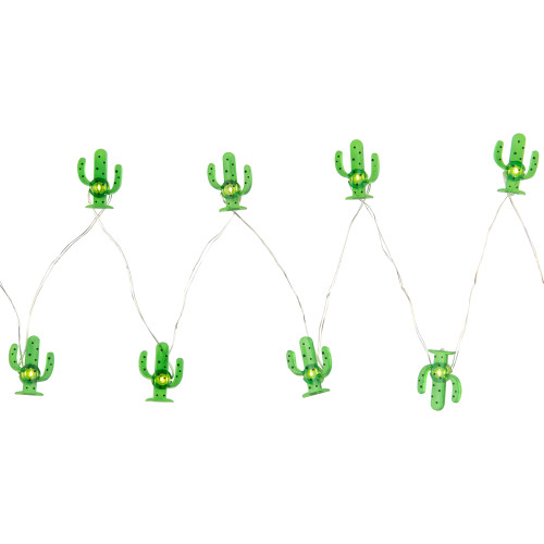 10-Count LED Green Cactus Fairy Lights - Warm White - IMAGE 1