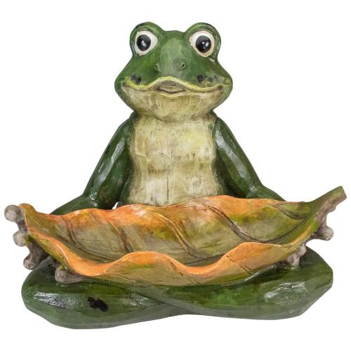 "14"" Green Frog with Leaf Birdfeeder Outdoor Garden Statue - IMAGE 1"
