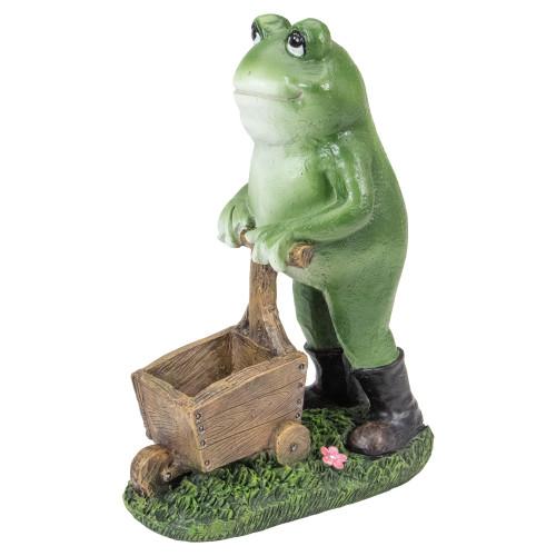 "11.5"" Green Frog Pushing Wheelbarrow Outdoor Garden Statue - IMAGE 1"