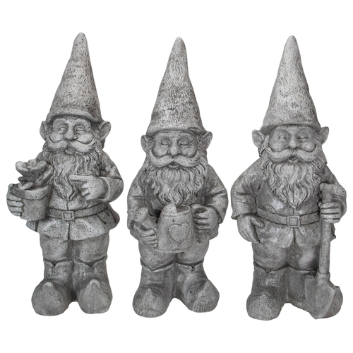 "Set of 3 Gray Gardening Garden Gnomes Outdoor Statues 15.75"" - IMAGE 1"