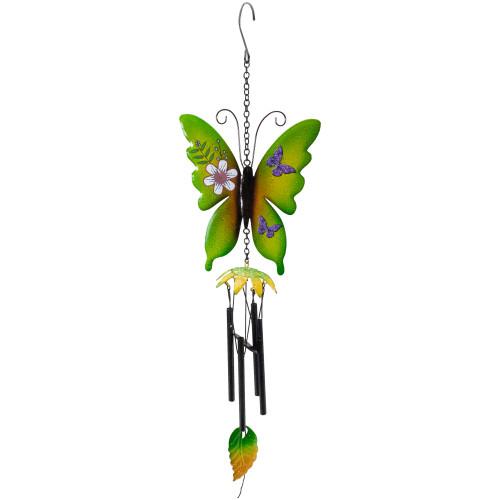 "15.75"" Green Metal Butterfly Outdoor Garden Windchime - IMAGE 1"