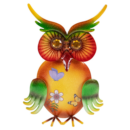 """11"""" Orange and Green Metal Owl Outdoor Decoration - IMAGE 1"""