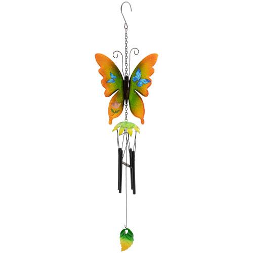 "15.75"" Orange and Green Metal Butterfly Outdoor Garden Windchime - IMAGE 1"
