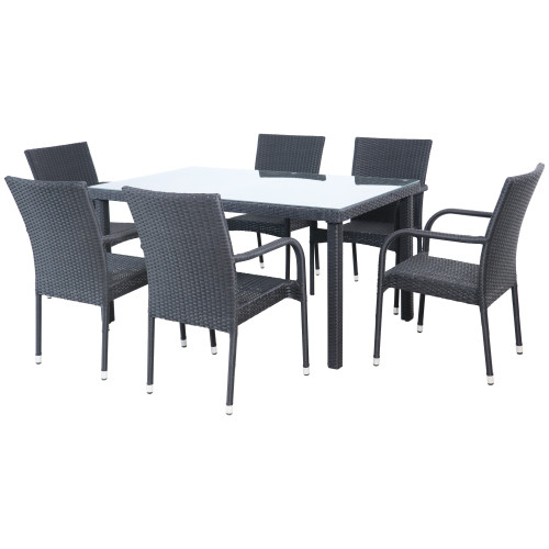 7-Piece Nassau Black Woven Resin Wicker Outdoor Patio Dining Set - IMAGE 1
