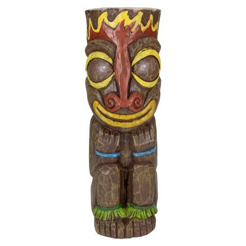 """16"""" Solar Lighted Polynesian Outdoor Garden Fire Tiki Statue - IMAGE 1"""
