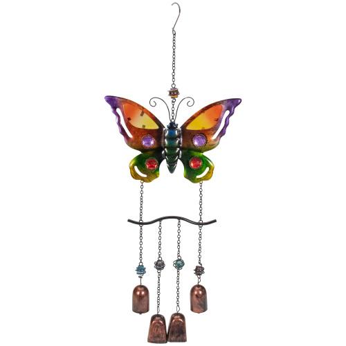 "24"" Purple and Bronze Butterfly Outdoor Garden Windchime - IMAGE 1"