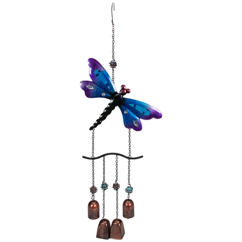 "24"" Purple and Bronze Dragonfly Outdoor Garden Windchime - IMAGE 1"