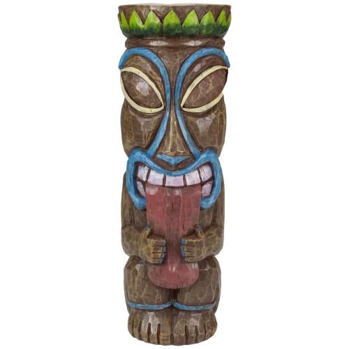 """16"""" Solar Lighted Polynesian Outdoor Garden Tongue Out Tiki Statue - IMAGE 1"""