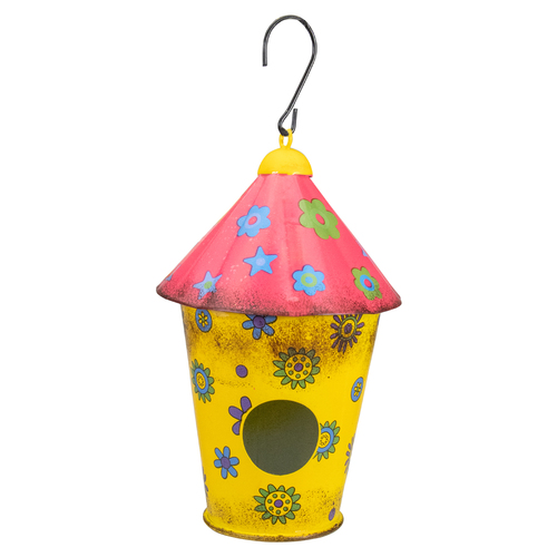 """7.75"""" Red and Yellow Metal Birdhouse with Flowers - IMAGE 1"""