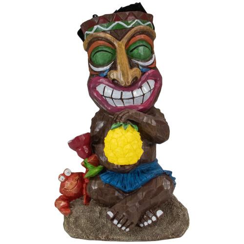 Solar Lighted Polynesian Outdoor Garden Smiling Tiki Statue - IMAGE 1