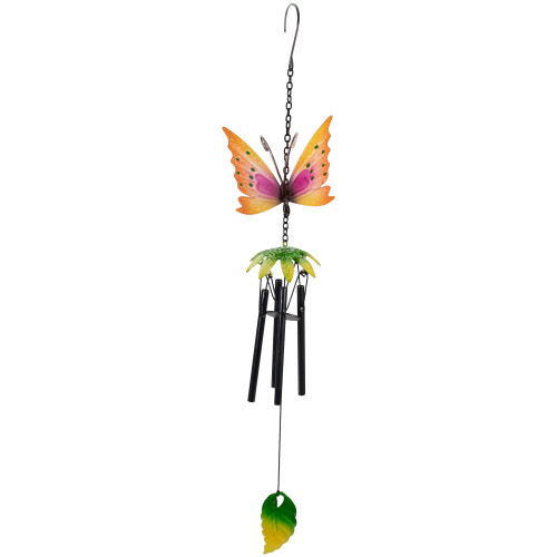 "19"" Orange Metal Butterfly Outdoor Garden Windchime - IMAGE 1"