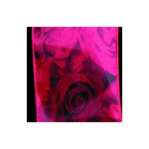 """Fuscia pink Floral Wired Craft Ribbon 3"""" X 20 Yards - IMAGE 1"""
