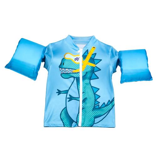 "18-Inch Light Blue Boys Swim Shirt ""Rawr"" Floaties With a Dinosaur - IMAGE 1"
