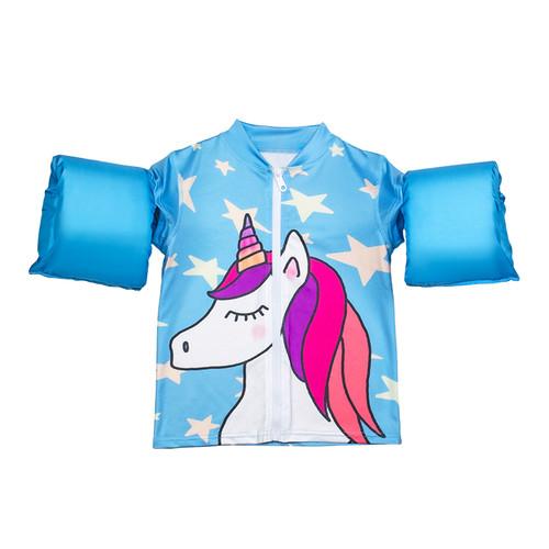 "18-Inch Turquoise Girls Swim Shirt ""Making Magic"" Floaties With a Unicorn - IMAGE 1"