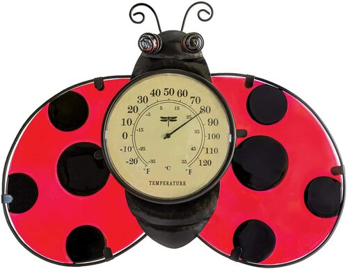 """16"""" Ladybug Outdoor Garden Wall Thermometer - IMAGE 1"""
