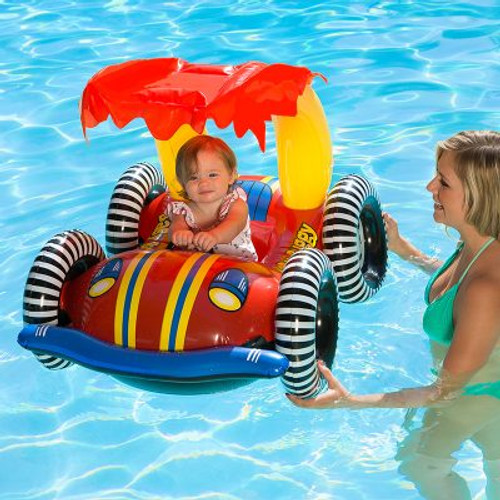 43-Inch Red and Yellow Baby Buggy Baby Rider With a Canopy - IMAGE 1