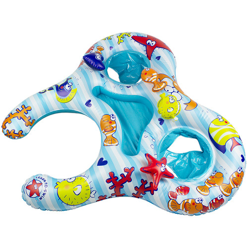"""46.5"""" Underwater Creatures Mommy and Us Dual Inflatable Swimming Pool Float - IMAGE 1"""