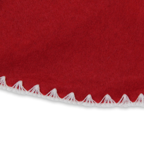 26-Inch Red and White Shell Stitching Mini Christmas Tree Skirt - IMAGE 1