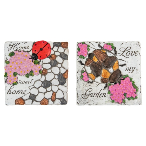 """Set of 2 Love my Garden and Home Sweet Home Floral Outdoor Garden Stones 7"""" - IMAGE 1"""