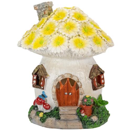 "7.25"" Solar Lighted Flower House Outdoor Garden Statue - IMAGE 1"