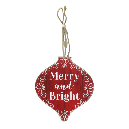 """5.5"""" White and Red Wooden Rustic """"Merry And Bright"""" Onion Christmas Ornament - IMAGE 1"""