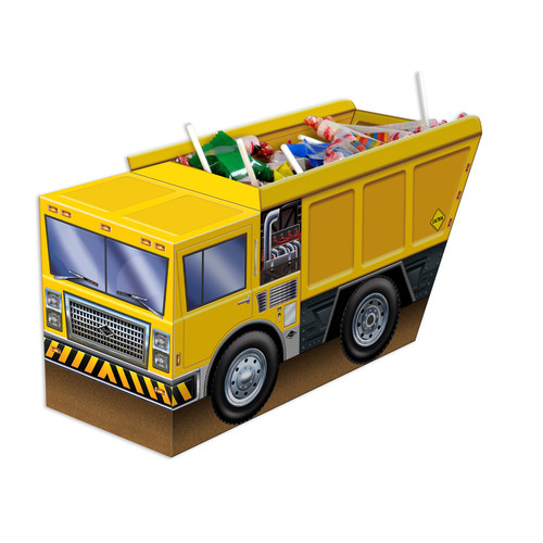 """Pack of 12 Yellow and Brown 3-D Dump Truck Centerpiece 18.75"""" - IMAGE 1"""