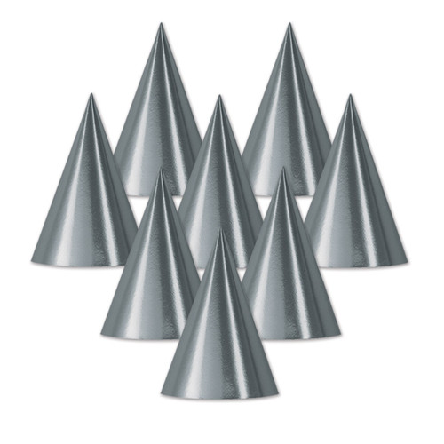 """Club Pack of 48 Silver Fun and Festive Party Foil Cone Hats 6.75"""" - IMAGE 1"""