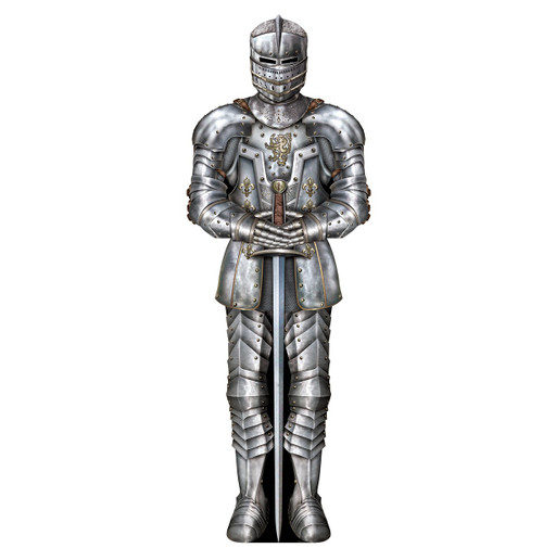 Club Pack of 24 Silver Medieval Suit of Armor Cutout Decors 3' - IMAGE 1