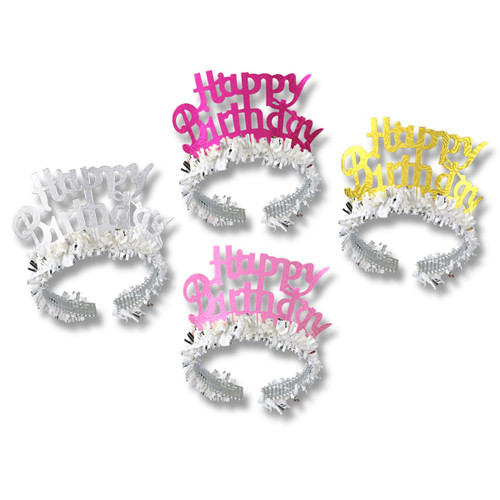 Club Pack of 72 Silver Happy Birthday Fringed Tiara Party Accessories - IMAGE 1