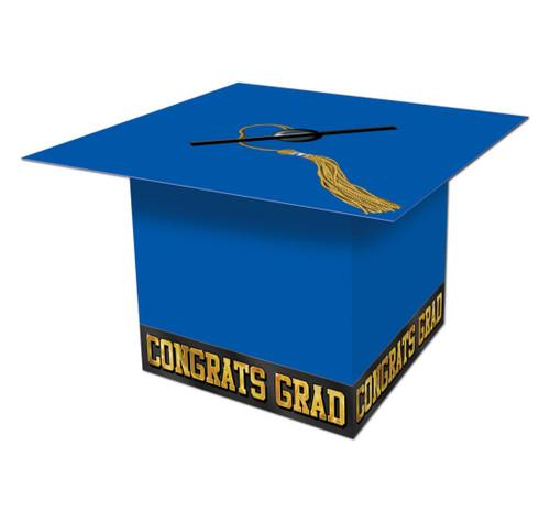 "Pack of 6 Blue Graduation Cap ""Congrats Grad"" Party Gift Card Boxes 8.5"" - IMAGE 1"