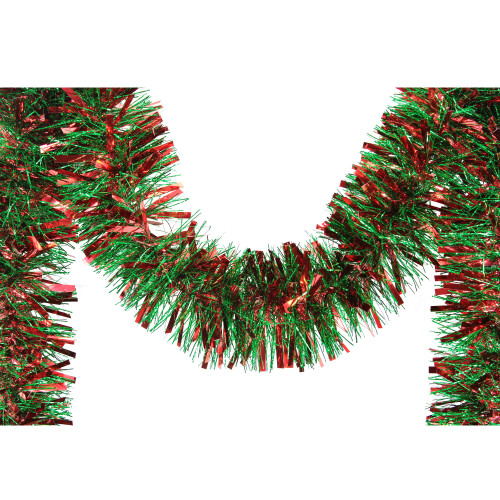 12' Soft Red and Green Wide Cut Christmas Tinsel Garland - Unlit - IMAGE 1