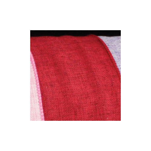 """Scarlet Red Wired Fine Linen Burlap Craft Ribbon 2.5"""" x 20 Yards - IMAGE 1"""