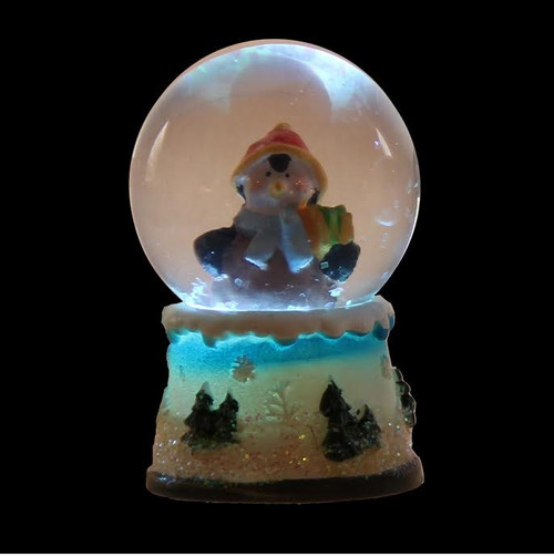 """2.75"""" Vibrantly Colored Penguin Glittering Snow Dome Christmas Snow Globe - LED Lights - IMAGE 1"""