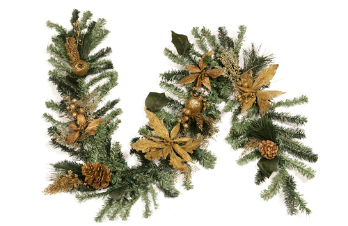 """6' x 12"""" Pre-Decorated Pine, Gold Poinsettia, Berry and Pine Cone Artificial Christmas Garland - Unlit - IMAGE 1"""