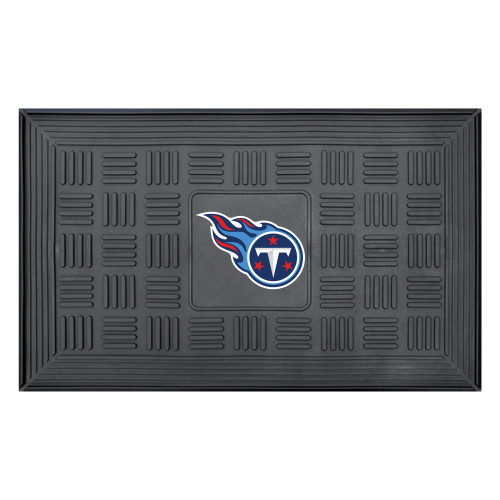 """19.5"""" x 31.25"""" Black and Blue NFL Tennessee Titans 3-D Team Medallion Doormat - IMAGE 1"""