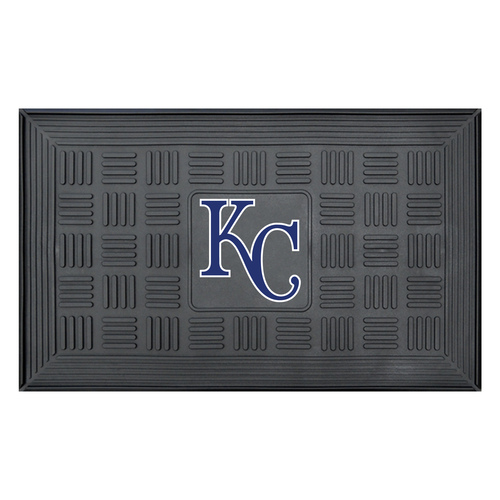 "19.5"" x 31.25"" Black and Blue MLB Kansas City Royals Team Medallion Outdoor Door Mat - IMAGE 1"