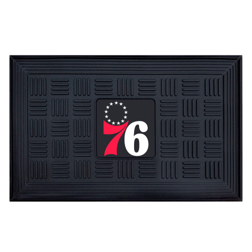 """19.5"""" X 31.25"""" White and Red NBA Philadelphia 76ers 76 and Stars 3-D Team Medallion Doormat - IMAGE 1"""