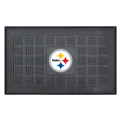 """19.5"""" x 31.25"""" Blue and Yellow Nfl Pittsburgh Steelers 3-D Team Medallion Doormat - IMAGE 1"""