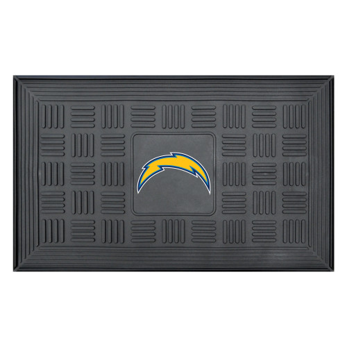 """19.5"""" x 31.25"""" Yellow and Blue NFL Los Angeles Chargers Lightening Bolt 3-D Team Medallion Doormat - IMAGE 1"""