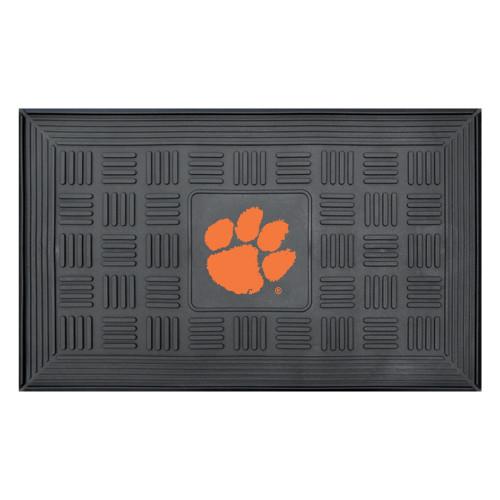 """19.5"""" x 31.25"""" Black and Orange NCAA Clemson University Tigers Medallion Outdoor Door Mat - IMAGE 1"""