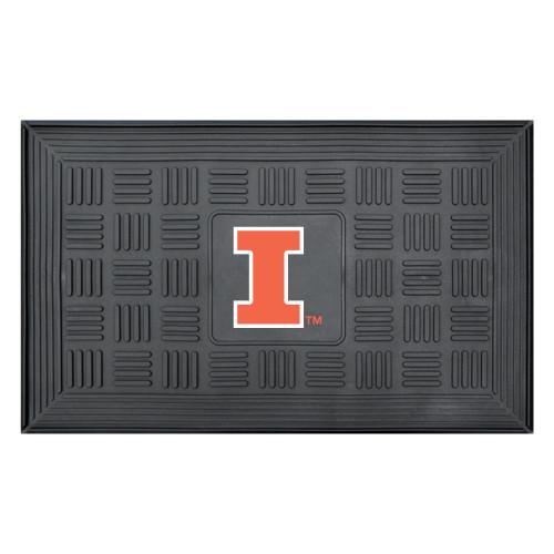 "19.5"" x 31.25"" Black and Orange NCAA University of Illinois Fighting Illini Outdoor Doormat - IMAGE 1"